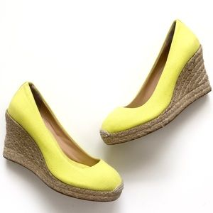 J. Crew Seville Espadrille Wedges in Bright Yellow